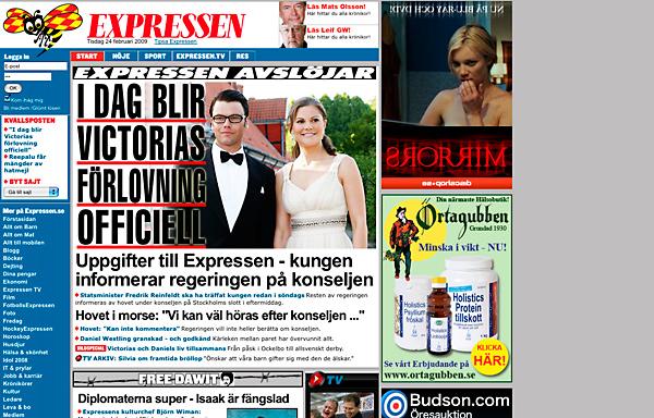 Expressen.se på morgonen - Två webben, etta på pappret.