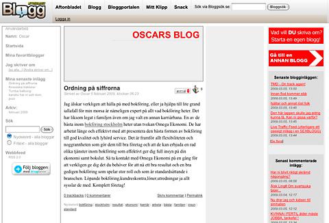 Spamblogg hos Aftonbladet blogg.