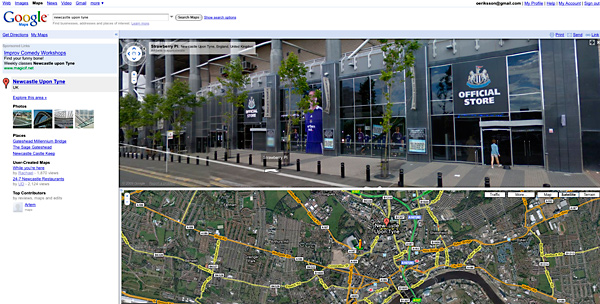 Google Street view, av en händelse utanför St James Park i Newcastle.
